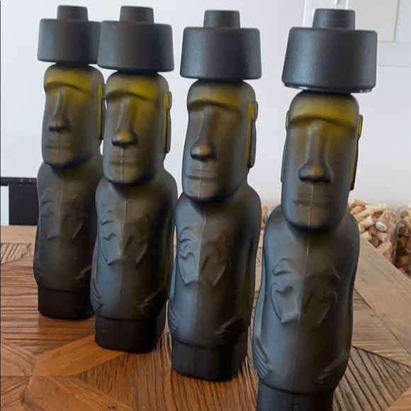 Empty Bottle of Pisco, Rapa Nui, Moai